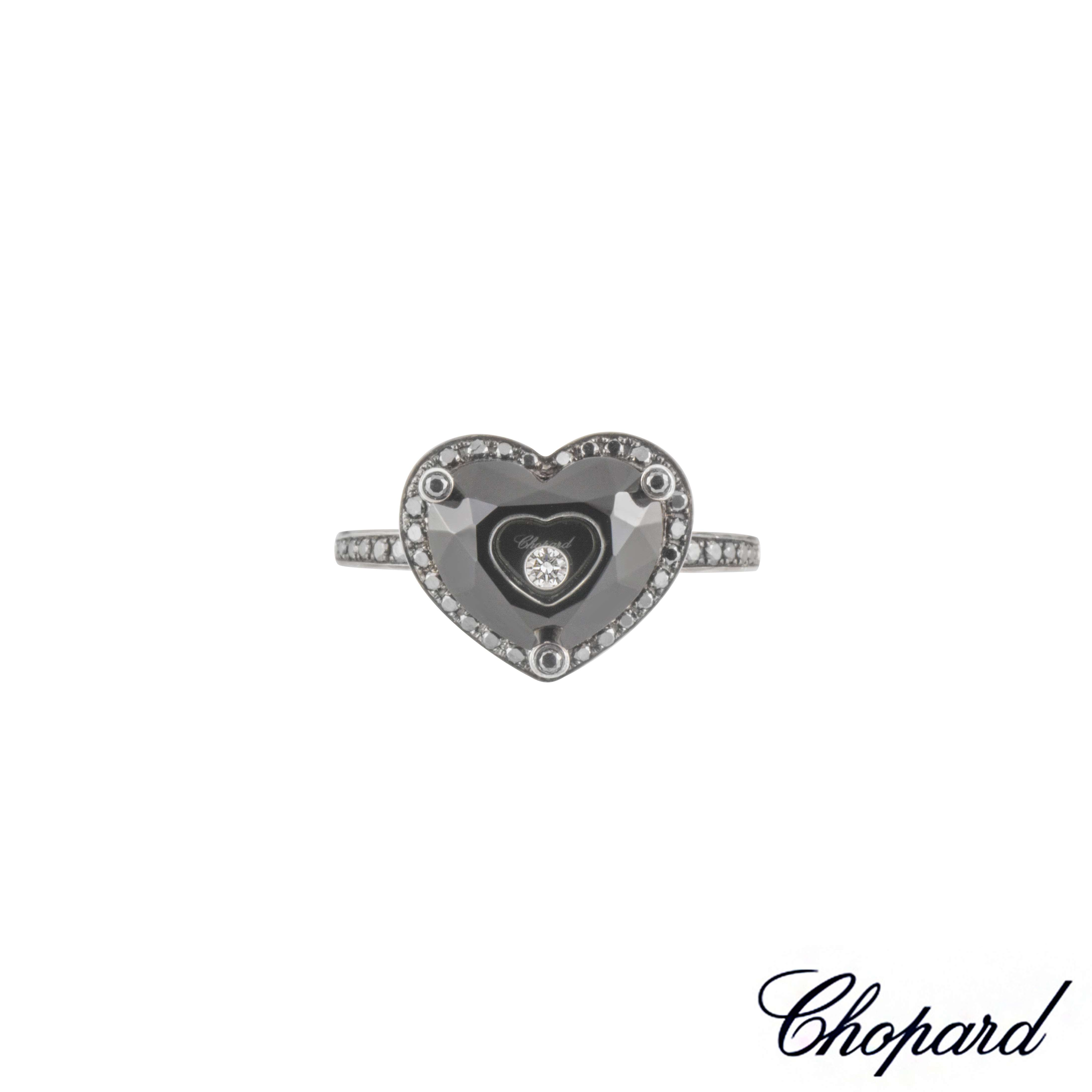 Chopard 18k White Gold Diamond and Onyx So Happy Diamond Ring Size 52 826122-1736